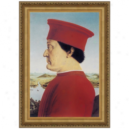 Portrait Of Federico Da Montefeitro, 1466: Canvas Replica Painting: Small