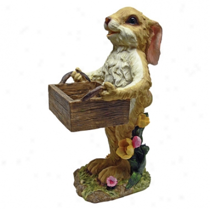 Rabbit With Box Birdfeeder Statue