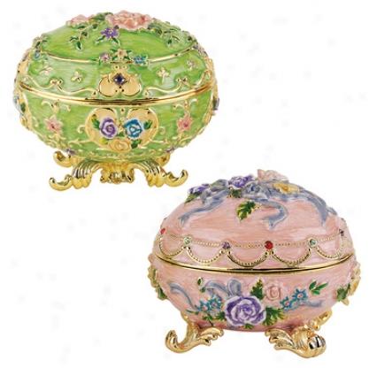 Renaissance Faberge-style Enameled Eggs: Couleur Verte & Couleur Rose