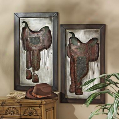 Saddle Up Cowboy Metal Wall Sculptures: Set Of Two