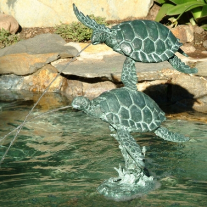 Sea Turtles Bronze Garden Sculpture