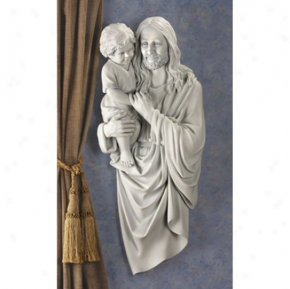 Smiling Christ With Child Wall Sculpture