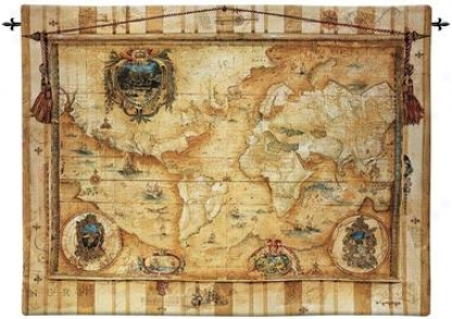 Souvenirs Des Voyage: Old World Map Wall Tapestry