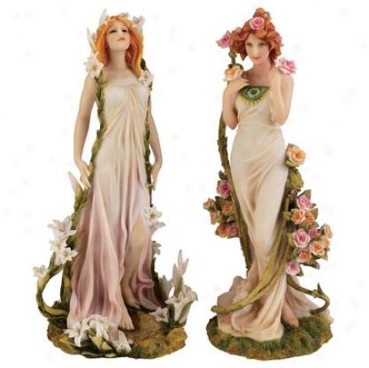 Spirit Of Spring Blossom Twins Statues: Fleurs Du Printemps & Fleur D'ete