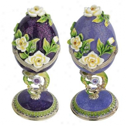 Spring Bouquet Collection: Faberge-style Enameled Eggs: Set Of Lavdnder & Purple Salvia