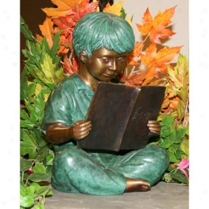 Story Book Boy Solid Bronze Gardeh Sculpture