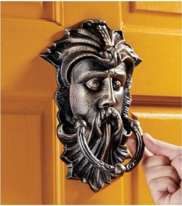 Sutherland House Greenman Authentic Foundry Irno Door Knocker