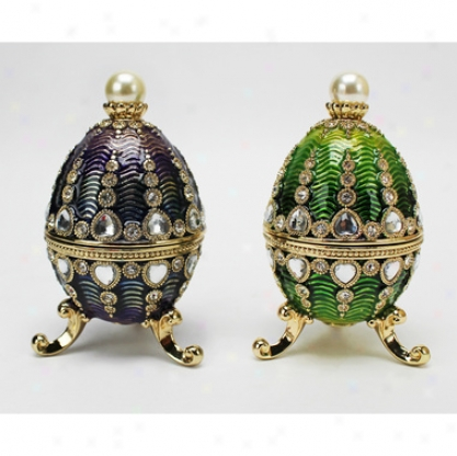 The Bogdana Collection Faberge-styel Enameled Eggs: Veronika & Valentina