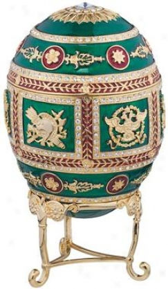 The Emerald Collection Faberge-style Enameled Egg: Redonka