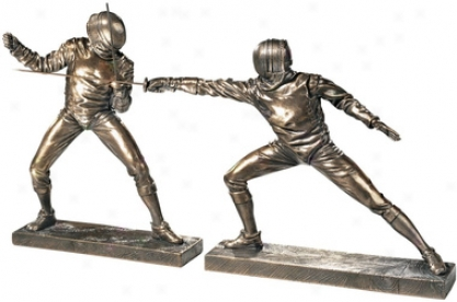 The Fencers Sculptures: Set Of Two