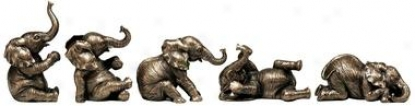 The Five Playful Pachyderms Sculptues