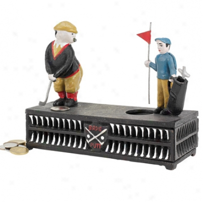 The Golfer: This Putt Is For A Birdie Colleyors' Die-cast Iron Mechanical Coin Bank