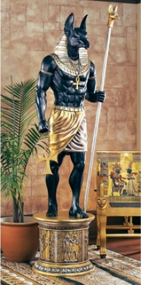 The Grand Ruler: Life-size Anubis Sculpture
