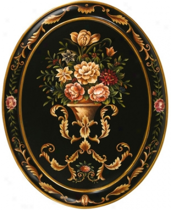 The Italian Garden Hand-painted Oval Wall Masterpiece