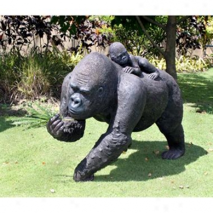 The Lowland Gorillas Mother & Child Great Ae Statue