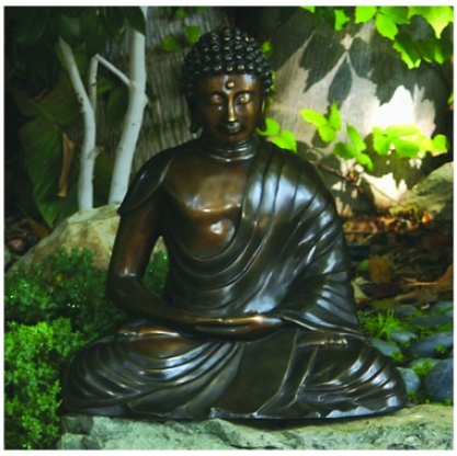 The Tranquil Buddha Solid Bronze Garden Sattue