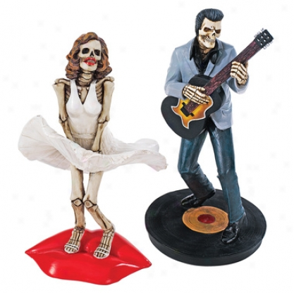 The Undead Legendary Icons Statue Collection: Blonde Bombshell Skeleton & Rock 'n Roll King Skeleton