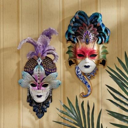 The Venetian Masquerades Sculptural Wall Masks: Maiden Del Cortina & Maiden Del Belluno