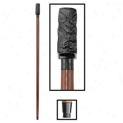 Tiki Luau Cast Metal Handle Hardwood Walking Stick
