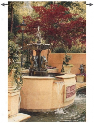 Tranquil Fountain Grand Wall Tapestry
