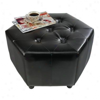 Tufted Hexagonal Cocktail Ottoman