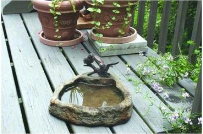 Two Birds With Basin Bronze Garden Sculpture: Lava