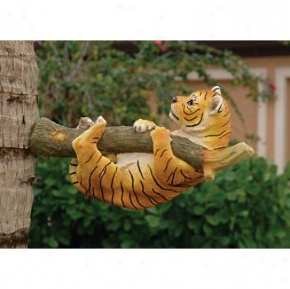 Up A Tree Tiger Cub Statue: Hanging Cub