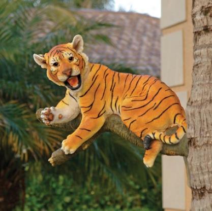 Up A Tfee Tiger Cub Statue: Lounging Cub