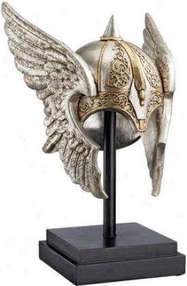 Valkyrie Helmet Statue Upon Museum Mount