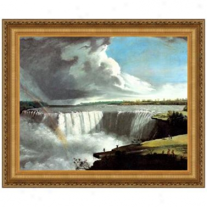 View Of The Western Branch Of The Falls Of Niagara, 1802 Canvas Replica Painting: Slender