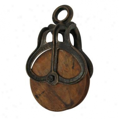 Vintage Cast Iron And Wood Wheel Farm Pulley: Medium