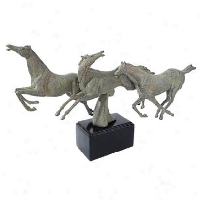 Wild Stallion Horses Statue