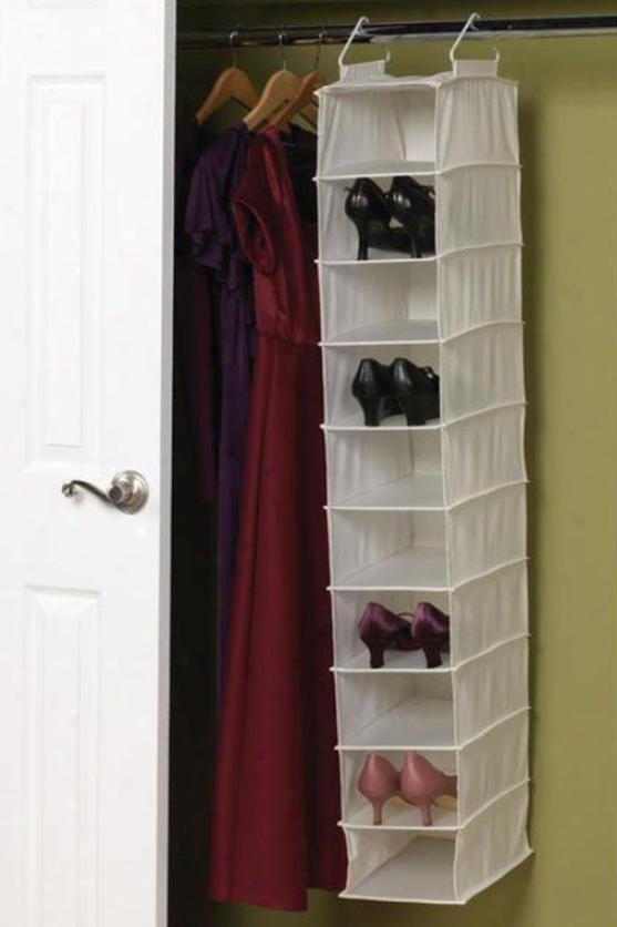 """10-pocket Wide Shoe Organizer - 50""""hx8""""w, Ivory"""