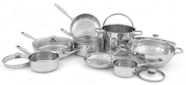 14-piece Stainless Steel Cookware Set - 13hx15wx25d, Silver