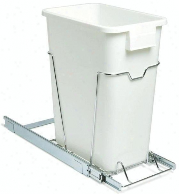 """19"""" Skiding Organizer With 9 Gallon Waste Bunker - 19.25""""hx9.5""""w, White"""