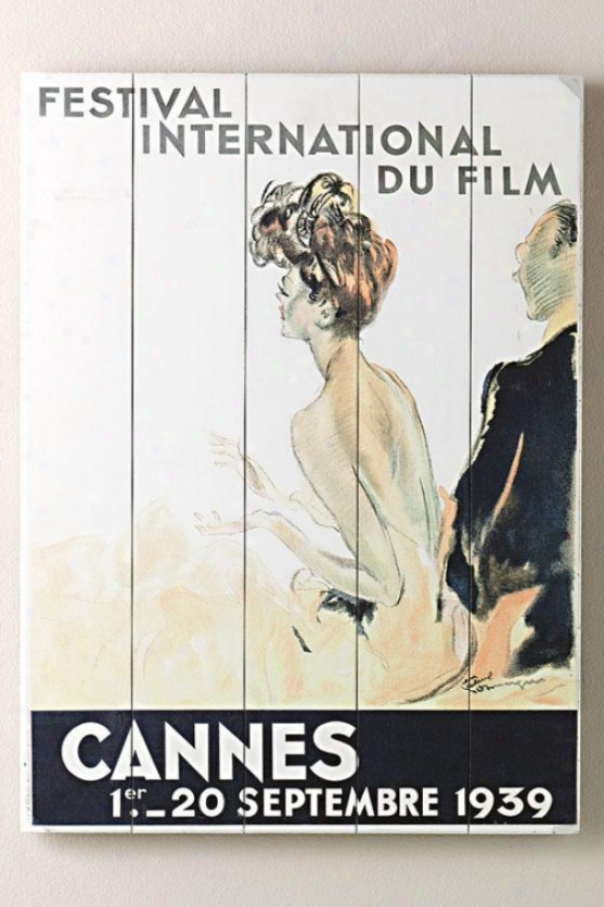 """1939 Cannes Film Festival Wooden Sign - 29""""hx14""""w, White"""