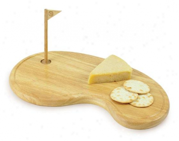 """19th Hole Cheese Tray Set - 1h X 15w X 8""""d, Natural Wood"""