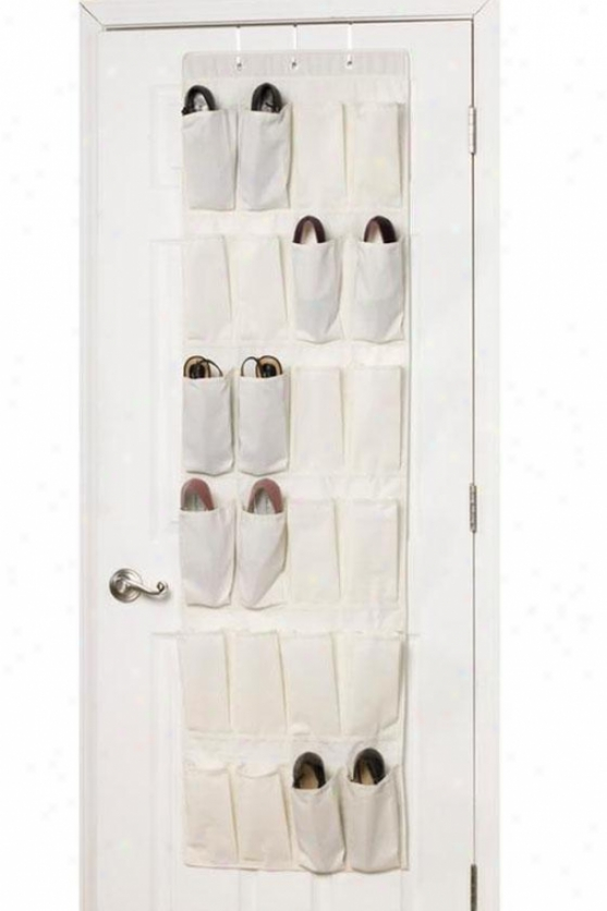 """24-pocket Over-the-door Shoe Organizer - 64""""hx12""""w, Iviry"""