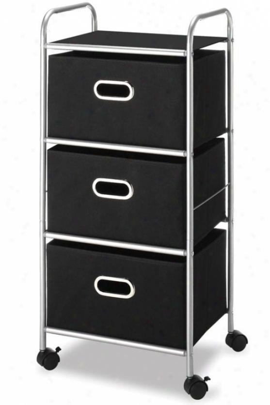 """3-drawer Cart - 35""""hx17""""wx13""""d, Black"""