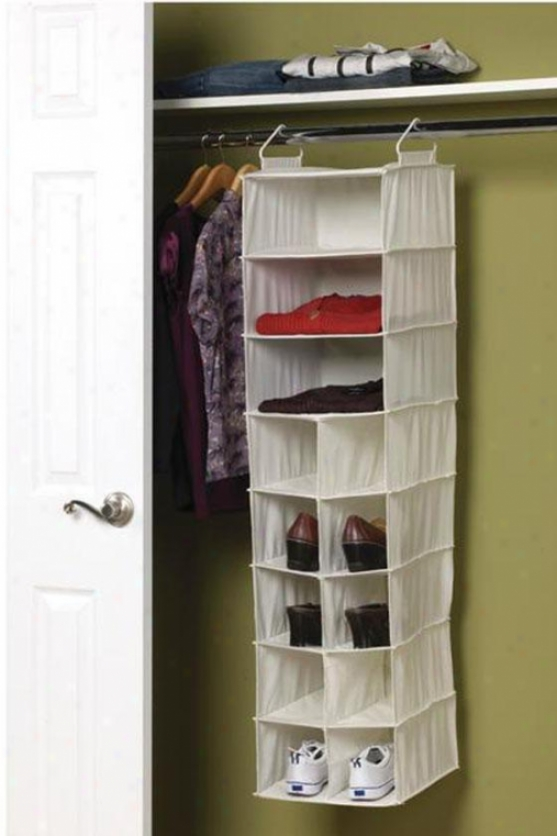 """3-shelf 10-pocket Orgabizer - 46.5""""hx12""""w, Ivory"""