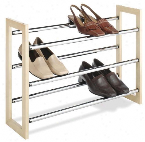"""3-tier Expand/stack Shoe Rack - 18""""hx25""""wx7""""d, Silver"""