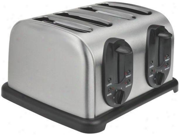 4-slic3 Toaster - 7.38hx11.25wx12, Black/stainless
