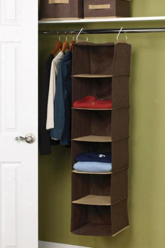 """6-shelf Organizre - 50""""hx12""""w, Coffee Linen"""