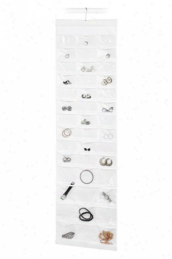 """84-pocket Jewels File - 48""""hx14""""wx1""""d, White"""