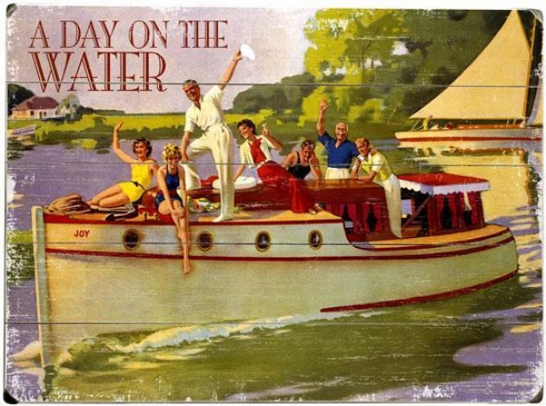 """a Day On The Water Woosen Sign - 20""""hx14""""w, Purple"""