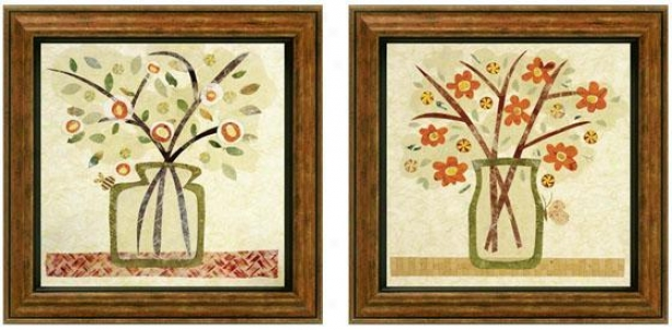 A Jar Of Flowers Framed Wall Art - Set Of 2 - Set Of Two, Earthtones