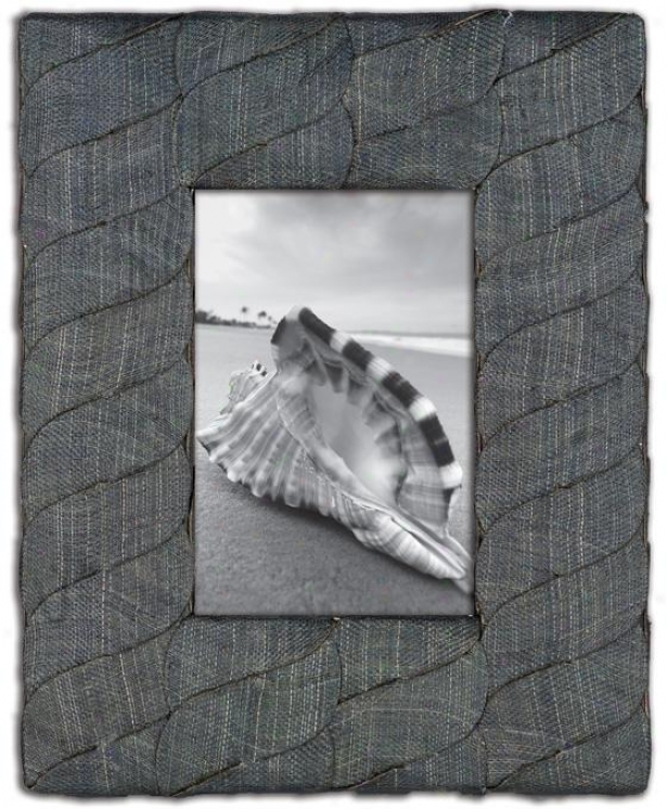 Abaca Picture Frame - Wavy 4x6 Frame, Gray
