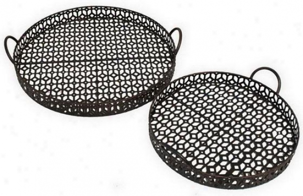 Acacia Tray - Set Of 2 - Set Of Two, Brown