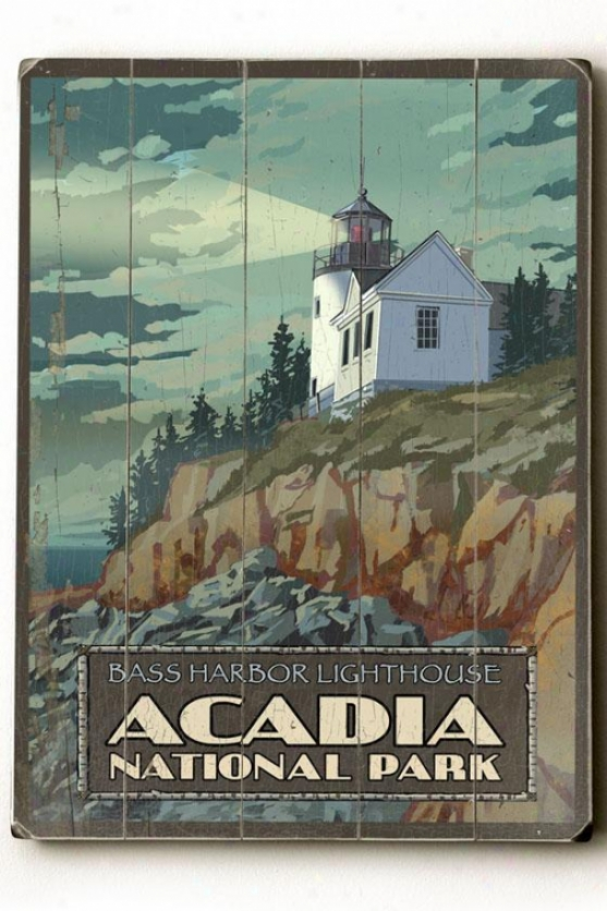 """acadia National Park Wooden Sign - 20""""h X 14""""w, Multi"""