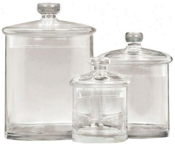 """adelle Jar - Set Of 3 - S/3 9"""",7"""",5""""h, Musical Glass"""
